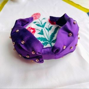 J.Crew Wide-Knot Headband With Crystals Purple